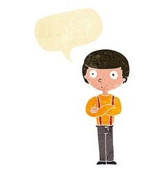 Cartoon staring boy with speech bubble vector