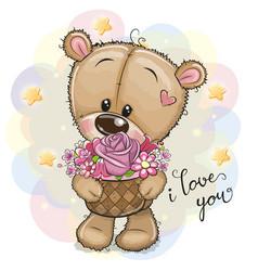 Cartoon teddy bear with flowers vector