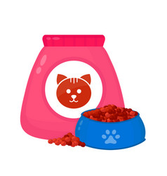 cat food bagfeed in a bowl vector image