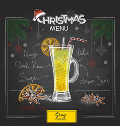 Chalk drawing christmas menu design cocktail grog vector