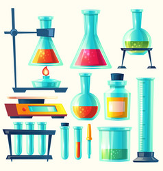 Chemical equipment for experiment vector