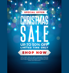 Christmas sale design with lights bulb garland and vector