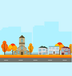 city town street view buildings in autumn season vector image