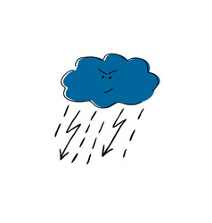 cloud with lightning and rain cartoon vector image