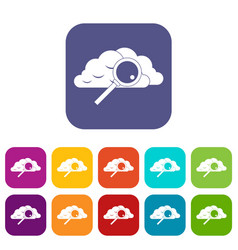 Cloud with magnifying glass icons set vector