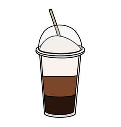 coffee shake with straw vector image