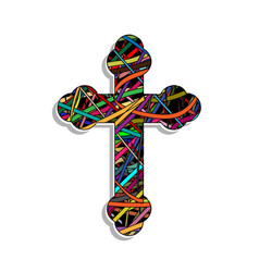 Colorful orthodox cross vector