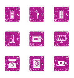 Comfortable room icons set grunge style vector