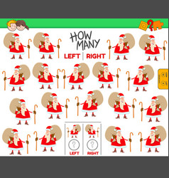 Counting left and right pictures cartoon santa vector
