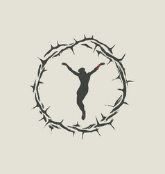 Crucified jesus christ inside crown thorns vector