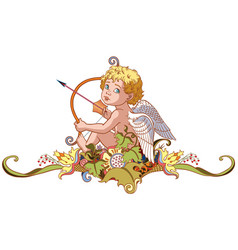 cupid holding a bow with arrow vector image