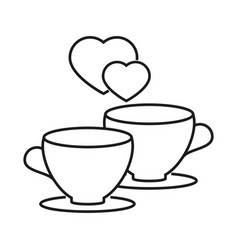 cups with a heart of love icon vector image