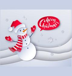 cut paper snowman vector image