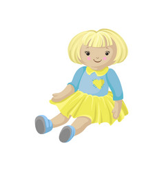 Cute blonde soft doll in a dress sewing toy vector