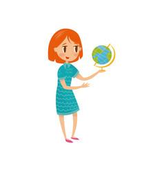 cute schoolgirl wirh globe preschool activities vector image
