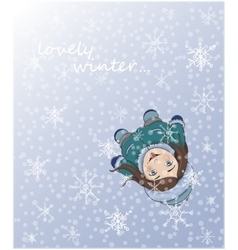 Cute winter girl catching snowflakes with tongue vector