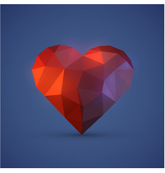 Diamont heart on blue background vector