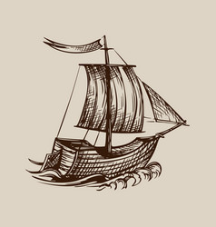 drawing sailing ship stylized as vector image