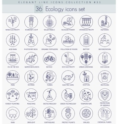 Ecology outline icon set Elegant thin line vector image