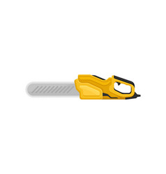 Electric chainsaw with yellow handle power tool vector