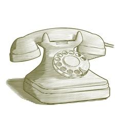 Engraved Retro Phone vector image