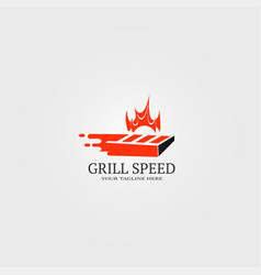 fast grill bar logo template logo for restaurant vector image