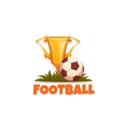 Football banner with ball and goblet vector image