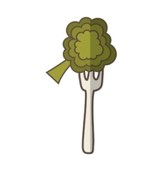 Fork with broccoli fresh vegetable isolated icon vector