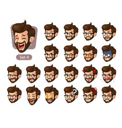 Fourth set of bearded hipster facial emotions vector