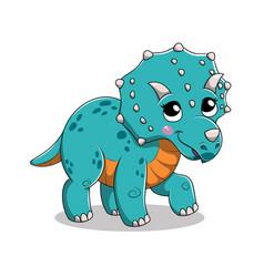 Funny cartoon isolated baby triceratops dinosaur vector