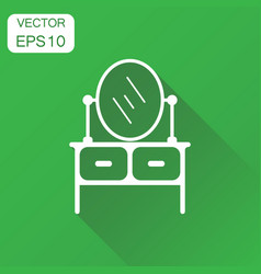 furniture table with mirror icon business concept vector image