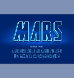 futuristic 3d font design colorful alphabet vector image