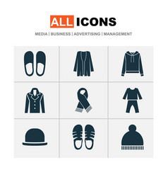 Garment icons set with scarf pajamas fedora and vector