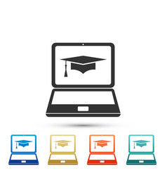 graduation cap and laptop icon online learning vector image