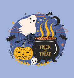 halloween banner with funny spooky ghost pumpkin vector image
