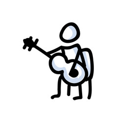 Hand drawn stick figure playing guitar concept of vector