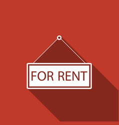 Hanging sign with text for rent with long shadow vector