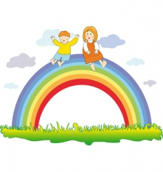 happy children on the rainbow vector image