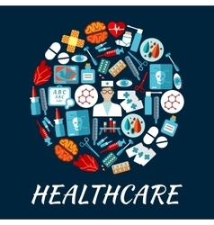 Healthcare flat icons in a shape of circle vector image vector image