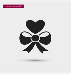 Heart with bow icon simple love valentine sign vector