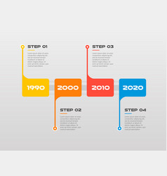 horizontal steps timeline infographics arrows with vector image
