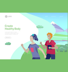Landing page template with running group people vector