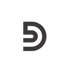 letter bd simple geometric linear logo vector image
