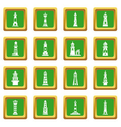 lighthouse icons set green square vector image