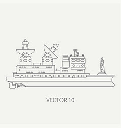 Line flat retro icon scientific ship vector