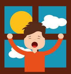 Little boy in front morning day stretching window vector