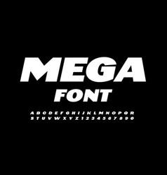 mega font white modern alphabet vector image