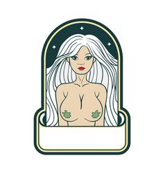 Miss double d cannabis mascot logo vector