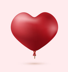 modern red heart balloon with ribbon vector image