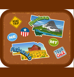 Montana nebraska travel stickers vector